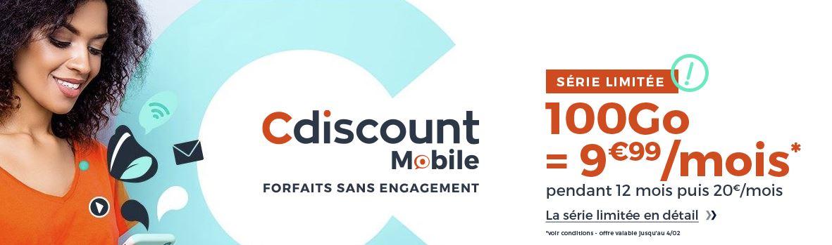 [Bon Plan] Cdiscount Mobile propose un forfait mobile à 9,99 euros par mois avec 100 Go de data !