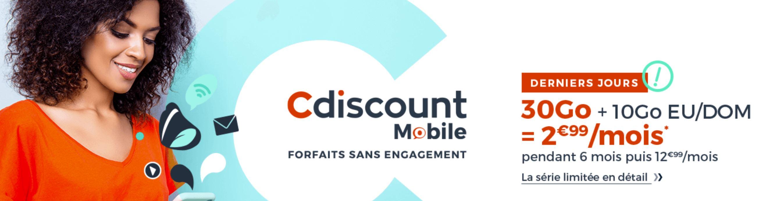 [Bon Plan] Cdiscount Mobile : un forfait mobile à 2,99 euros par mois avec 30 Go de data !