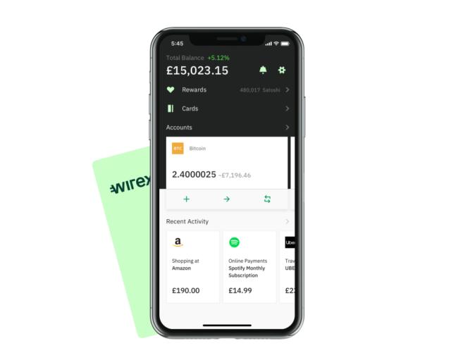 Exemple d'un visuel de solde sur l'application Wirex