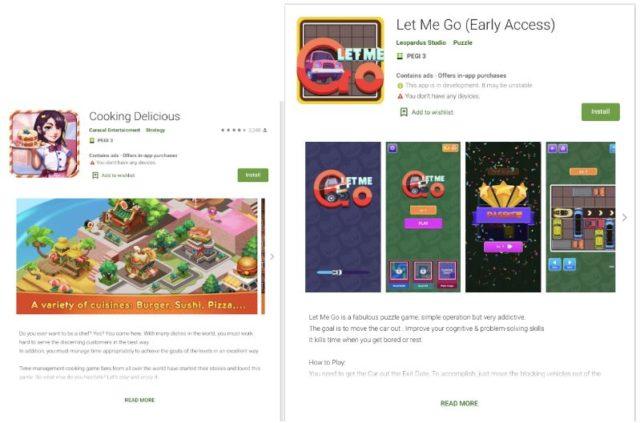 Pages Google Play de certaines des applications Tekya