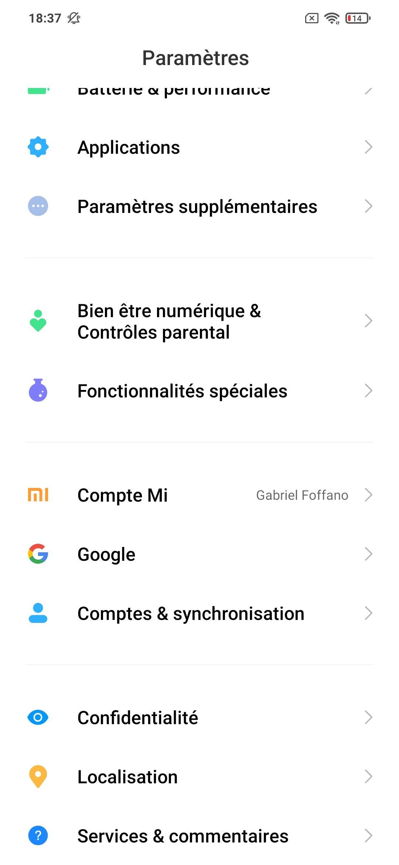 Xiaomi POCO M3 Paramètres MIUI OS 12