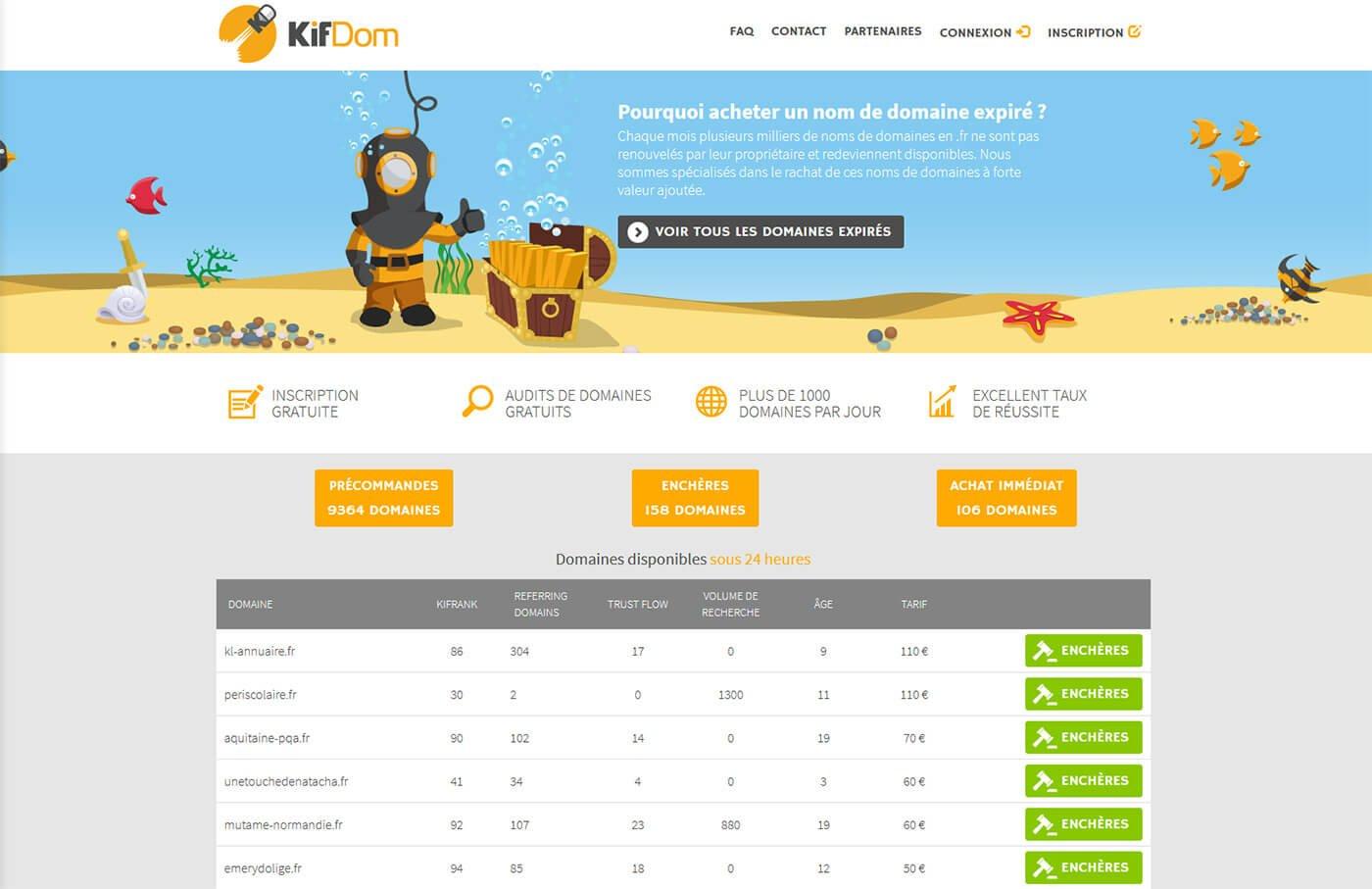 Achat enchère nom de domaine Kifdom