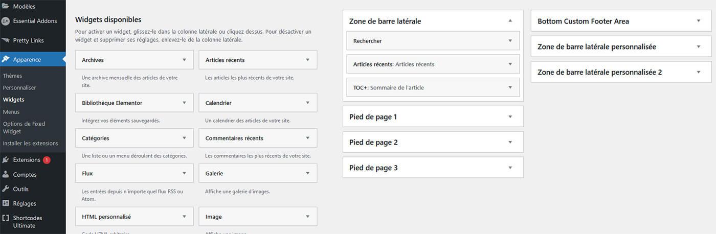 Ajout Modification Widgets WordPress