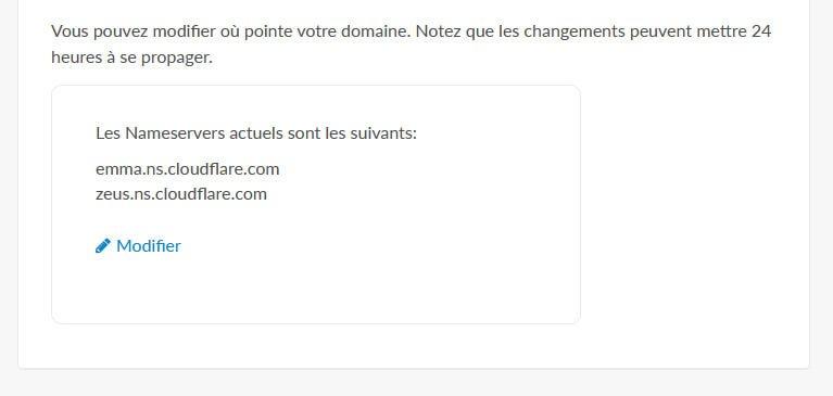 Changement nameservers hébergement web