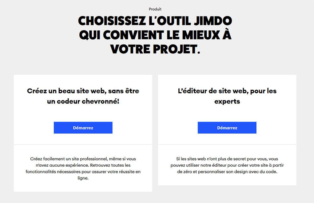 Choix méthode création site Jimdo