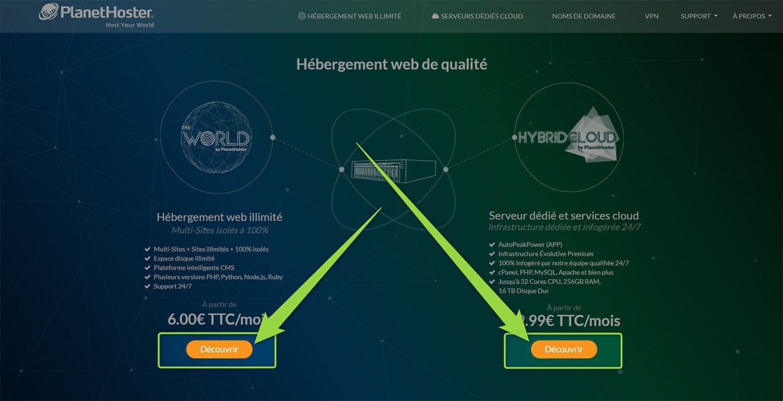 Choix offre hébergement PlanetHoster