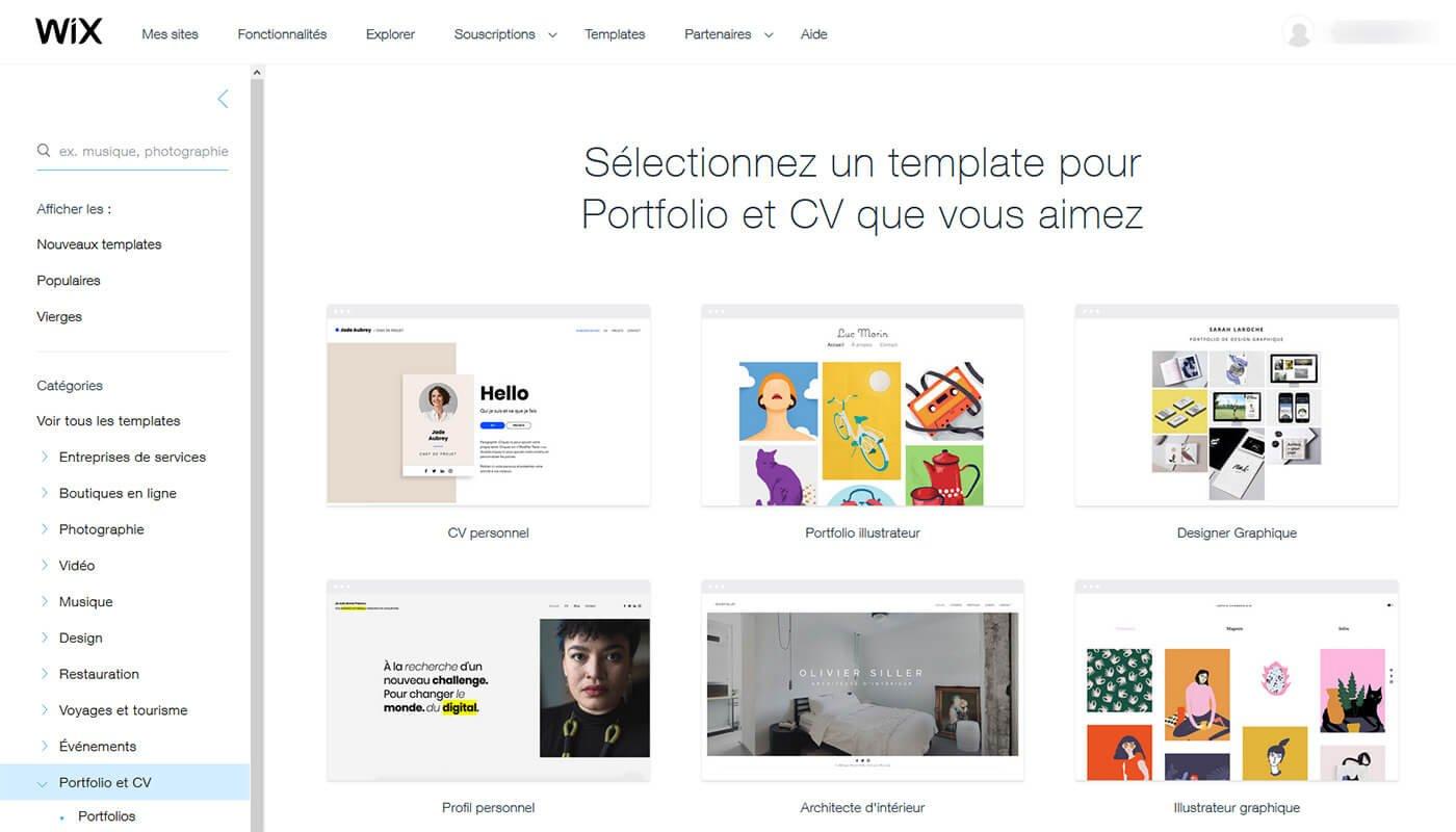Choix template site Wix