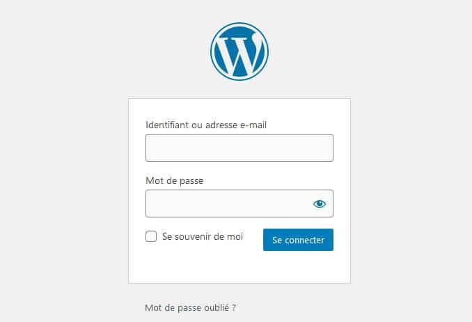 Connexion panneau administration WordPress