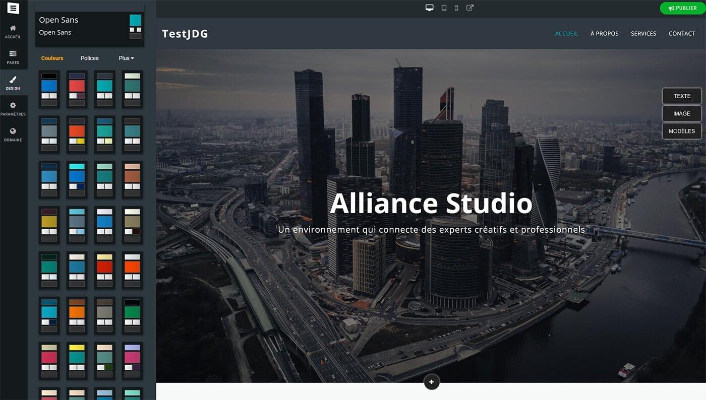Editeur création site Site123