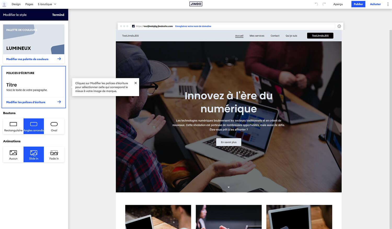 Editeur site Jimdo