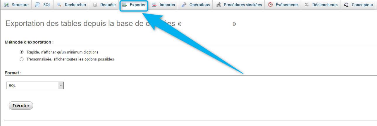 Export base de données phpMyAdmin