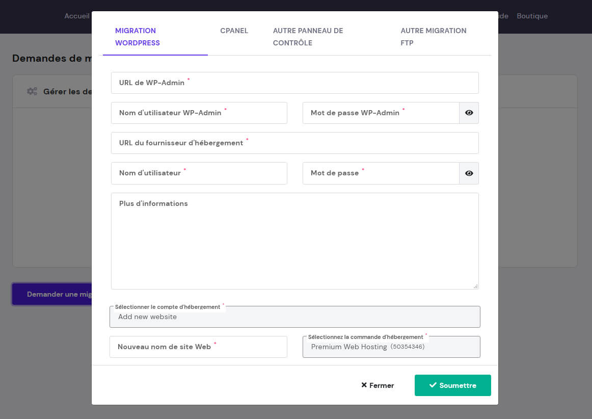 Formulaire migration site WordPress Hostinger
