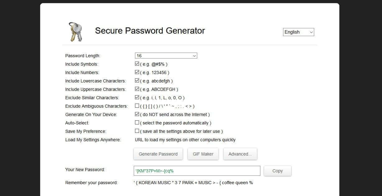 Générateur mots de passe sécurisés