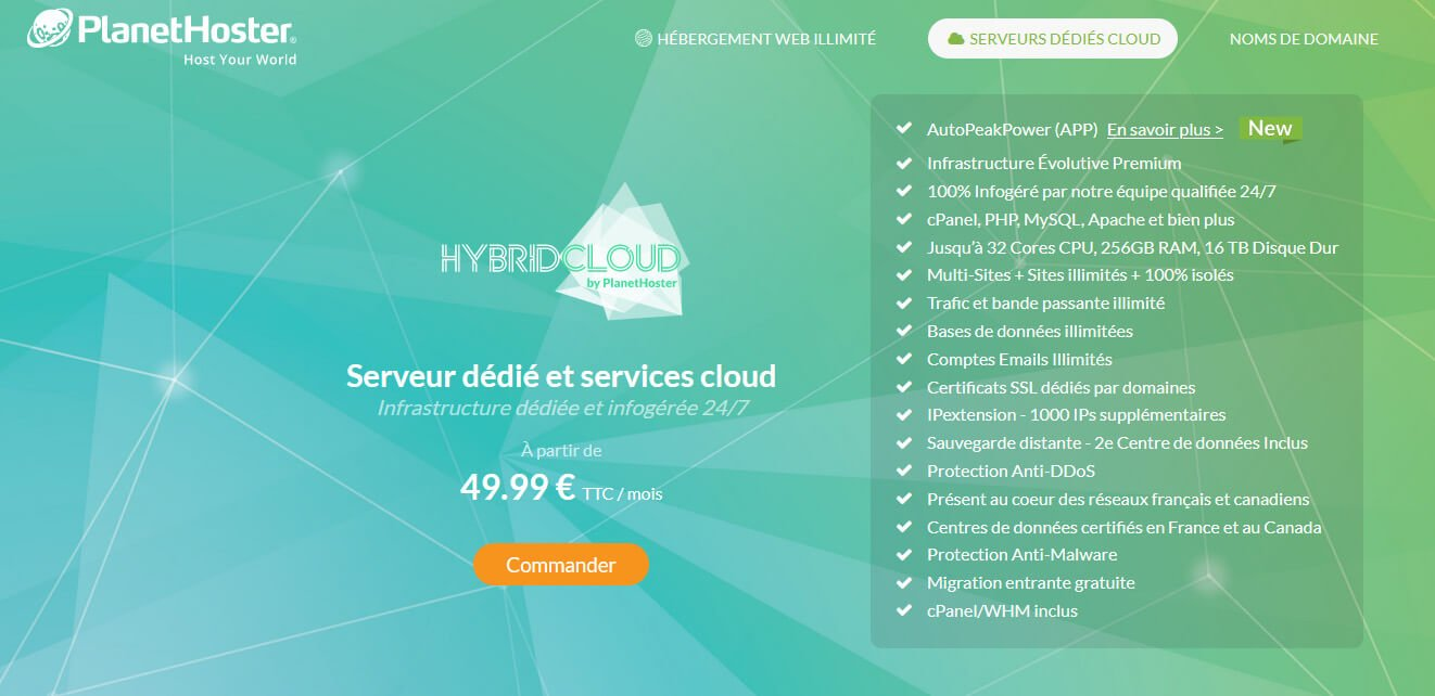 Hébergement HybridCloud PlanetHoster