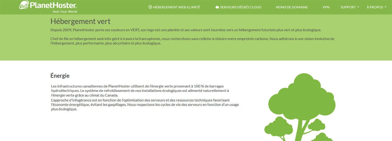 Hébergement web écologique PlanetHoster
