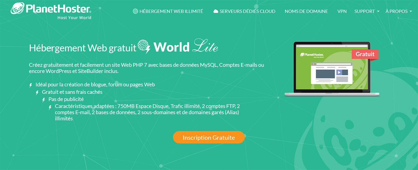 Hébergement World Lite PlanetHoster