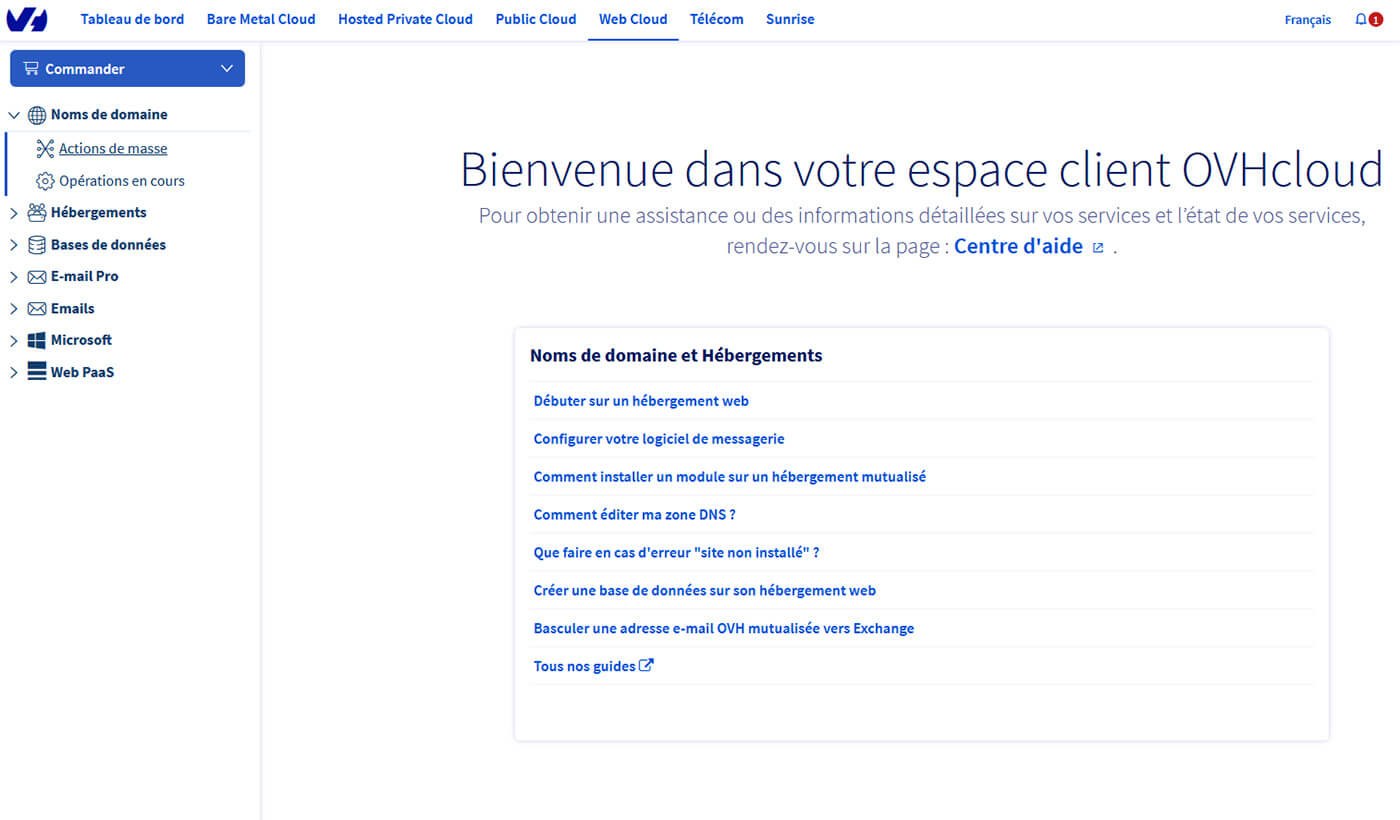Interface Espace client OVH