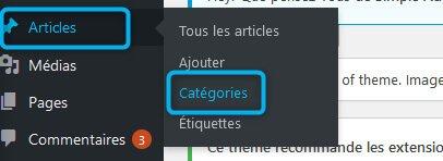 Modification catégories WordPress