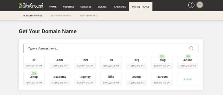Noms de domaines chez SiteGround