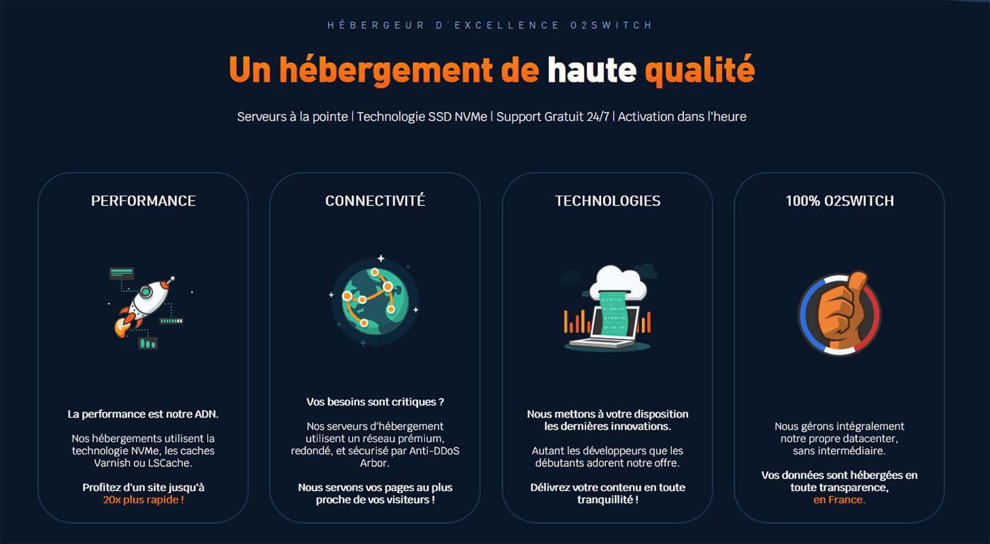 Qualités hébergement web français o2switch