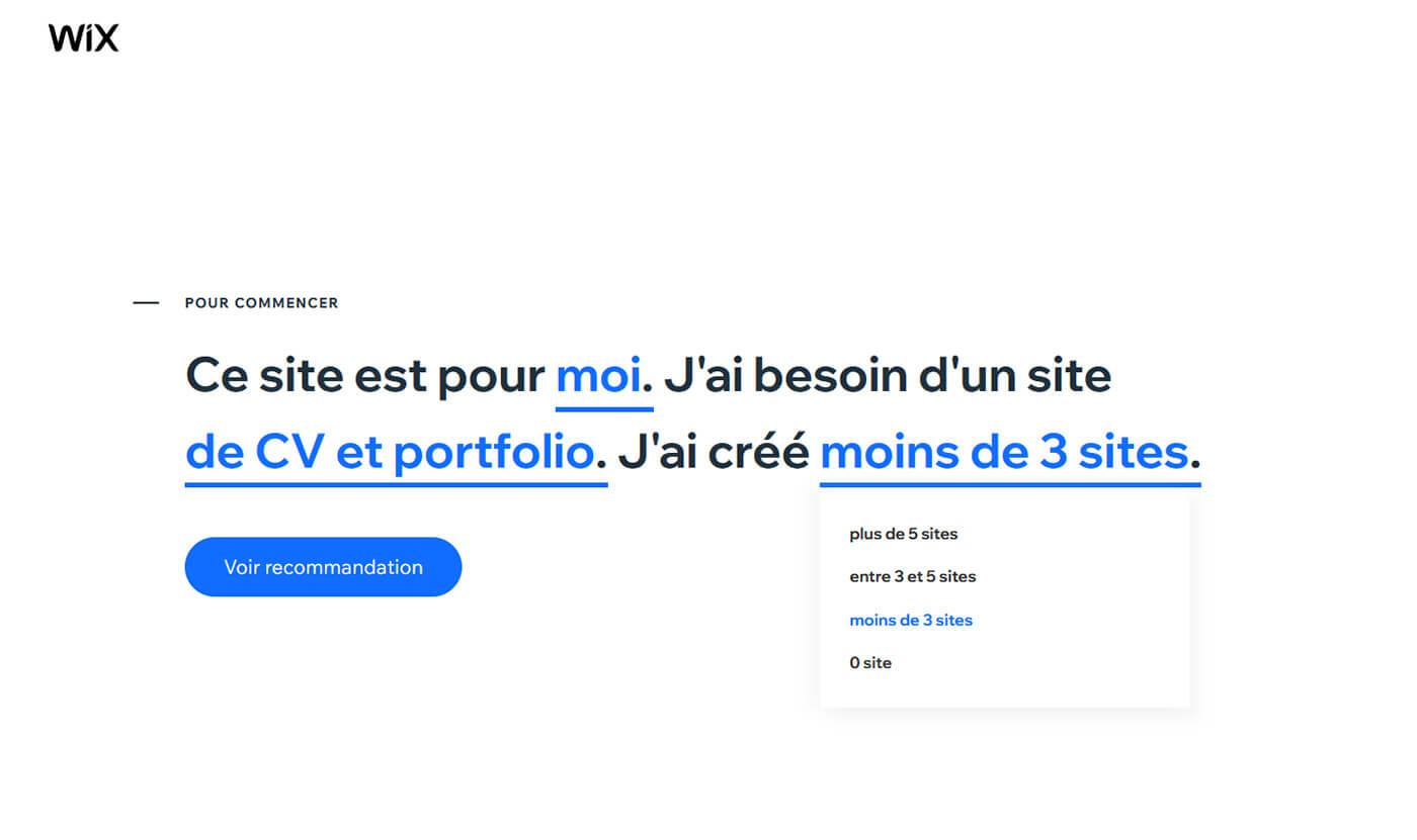 Questionnaire création site Internet Wix