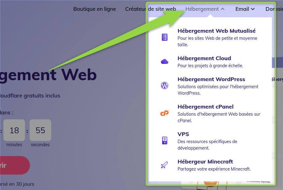 Recherche hébergement web Hostinger