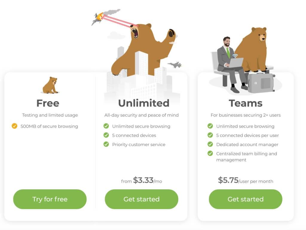 VPN gratuit TunnelBear