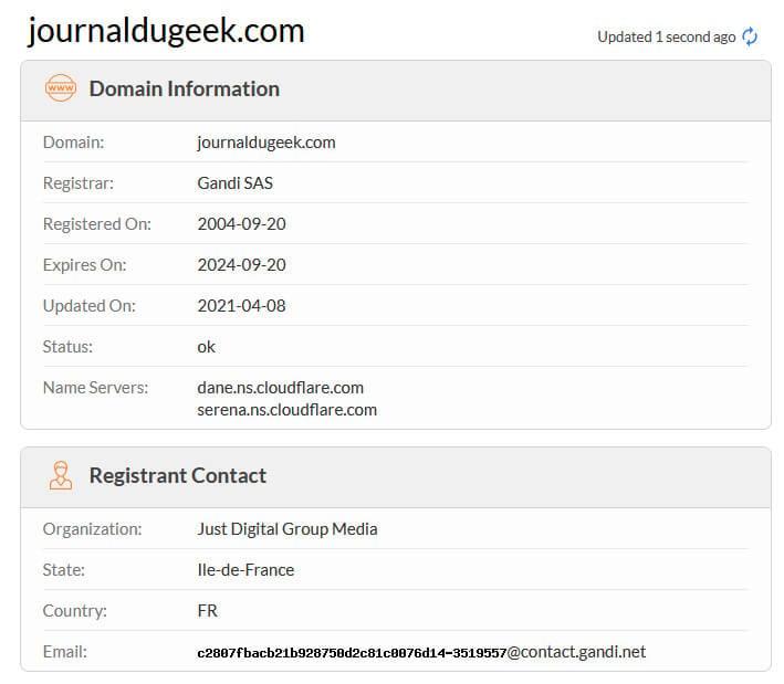 WHOIS Nom de domaine Journal du Geek