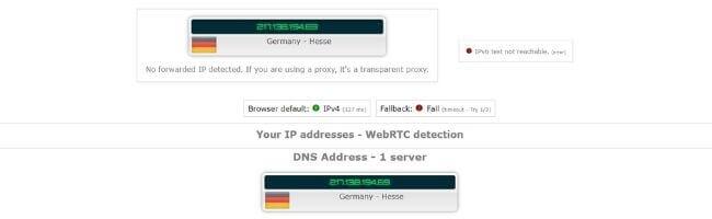 Test d'adresse IP sur un serveur allemand Hide.me