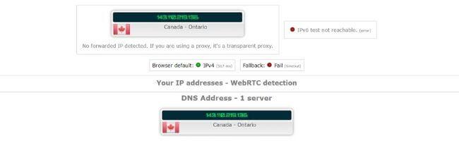 Test d'adresse IP avec TunnelBear