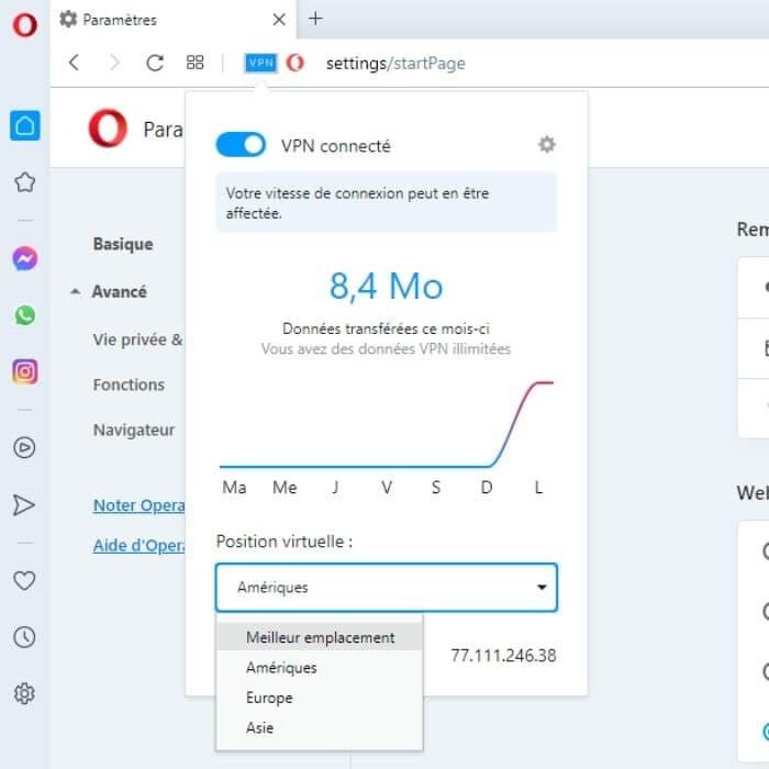 Choix de localisations Opera VPN