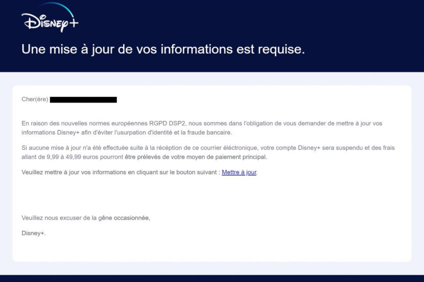 Mail frauduleux Disney+