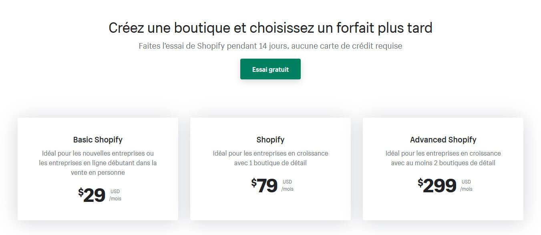 Forfaits Shopify