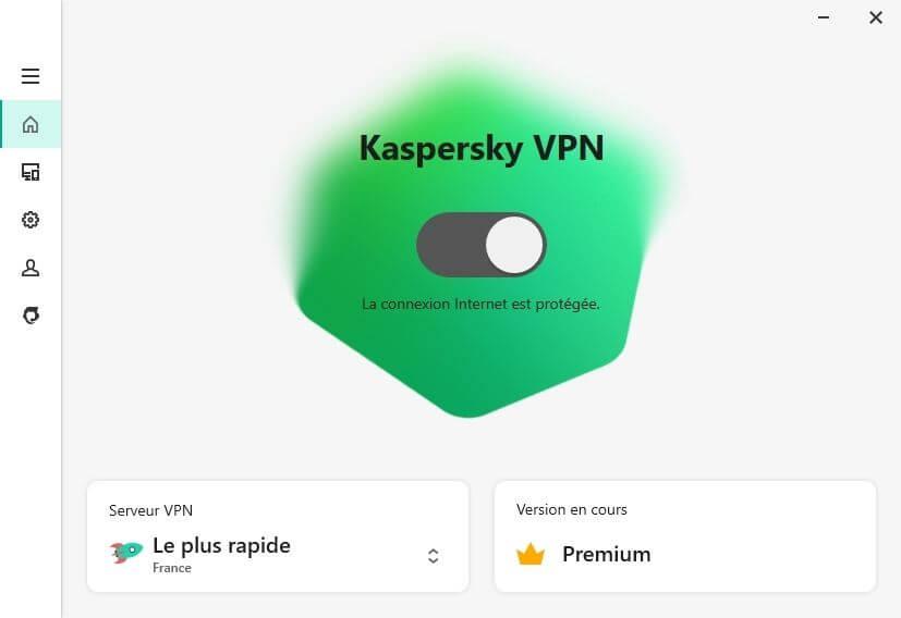 Interface Kaspersky VPN