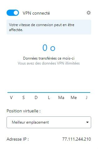 Interface Opera VPN
