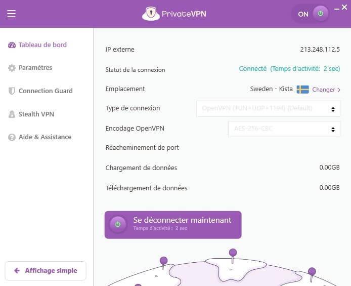Interface PrivateVPN