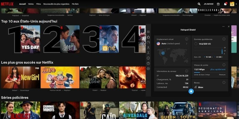 Netflix avec Hotspot Shield