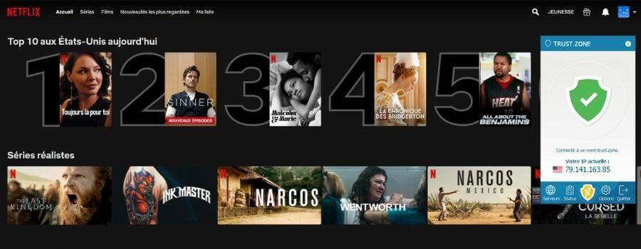 Netflix US avec Trust Zone VPN