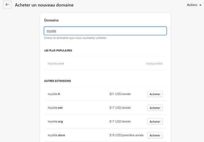 Achat de nom de domaine avec Shopify