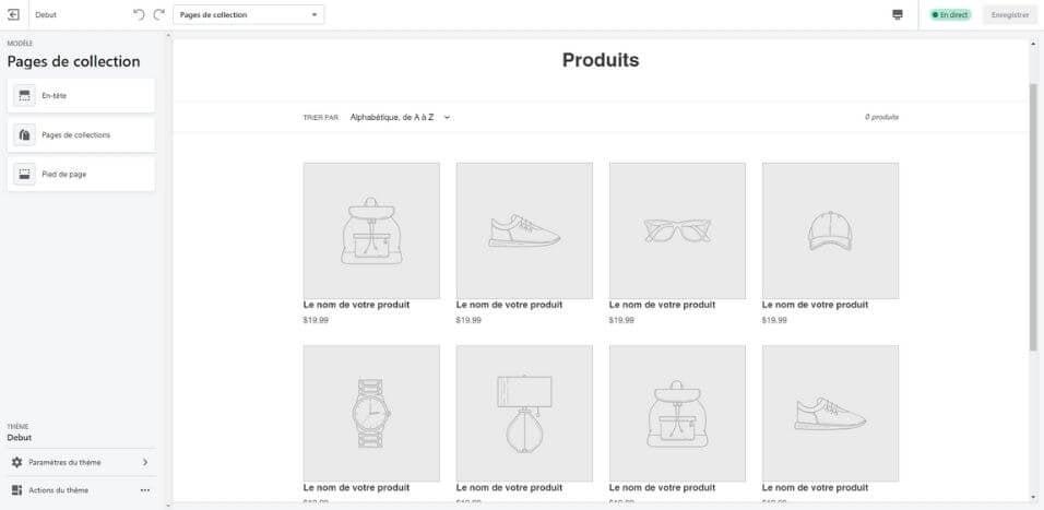 Outil d'édition de Shopify
