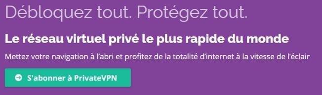 Page officielle PrivateVPN