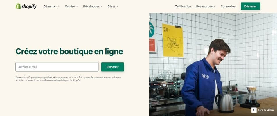 Page officielle Shopify
