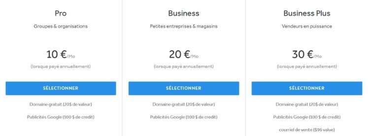 Prix e-commerce avec Weebly