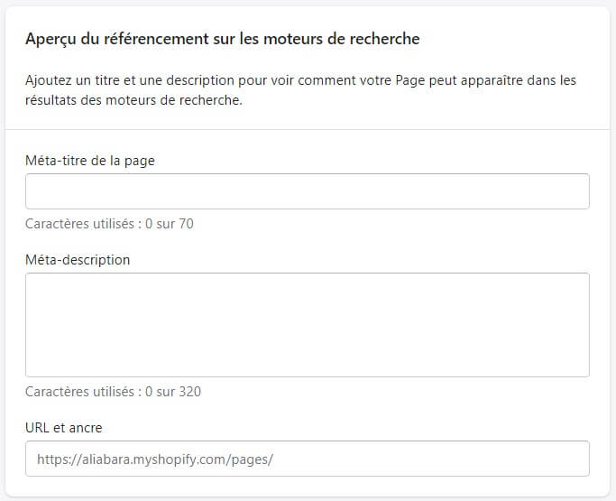 SEO pages Shopify