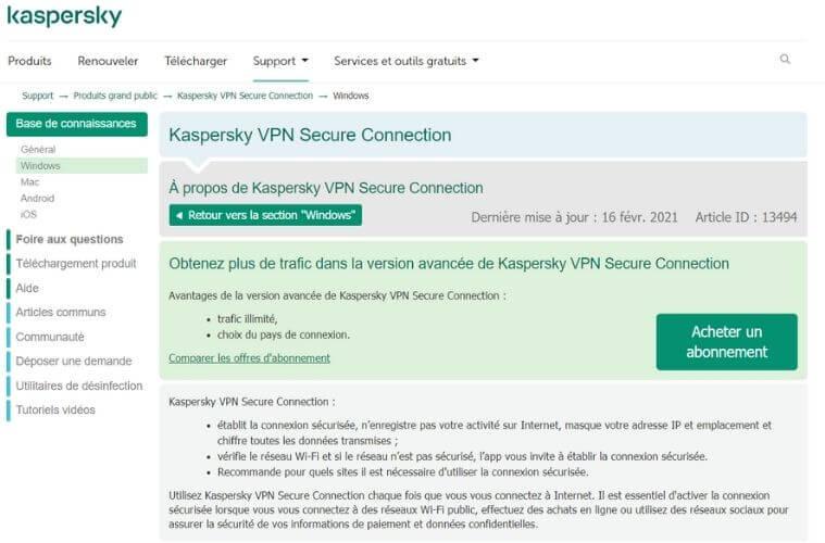 Support Kaspersky VPN
