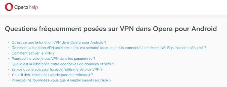 Support Opera VPN