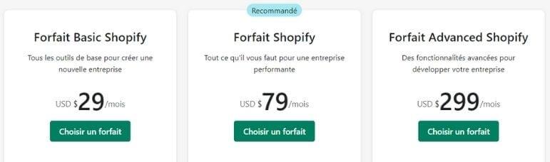 Tarifs boutique Shopify