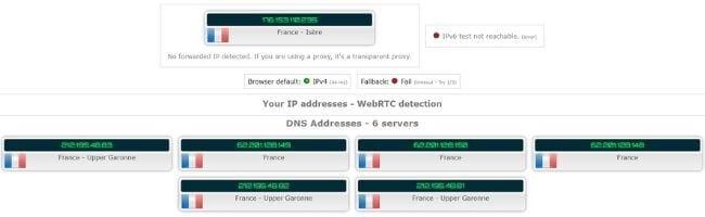 Test d'adresse IP sans Betternet