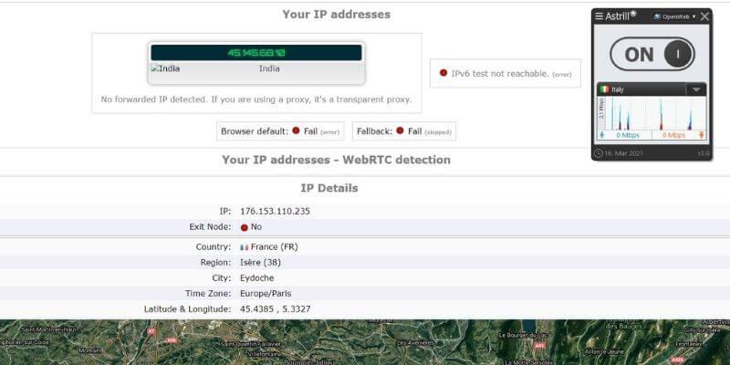 Test d'adresse IP avec Astrill VPN