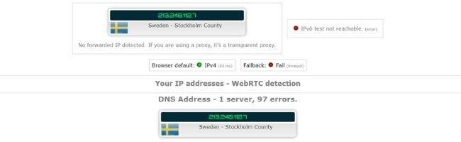 Test d'adresse IP avec PrivateVPN